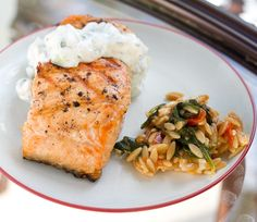 Grilled salmon with Chobani Cucumber Mint Tzatziki Sauce