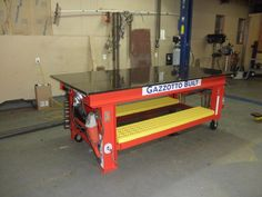 Welding Table With Scissor Jacks to Deploy Casters