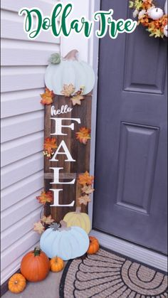 Sharing my Dollar Tree DIY Farmhouse Fall Porch decor! This is part one where I share my Dollar Tree DIY Fall Porch sign. Part 2 I'll be sharing fall planter. Dollar Tree Fall, Dollar Tree Halloween Decor, Dollar Tree Decor, Dollar Tree Crafts, Handmade Home, Fall Wood Signs, Fall Door Decorations, Fall Diy, Autumn Trees
