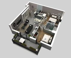 Plano de departamento pequeño en 3D