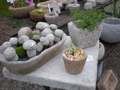 Mini Mushrooms and small planters made from hypertufa
