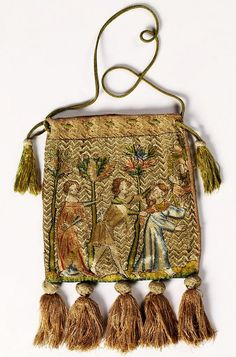 Alms pouch with the story of Tristan and Iseult by Anonymous from France, ca. Alms pouch with the story of Tristan and Iseult by Anonymous from France, ca. Muzeum Skarbca Katedralnego im. Jana Pawła II w Krakowie, possibly belonging to Queen Jadwiga Vintage Purses, Vintage Bags, Vintage Handbags, Medieval Embroidery, Gold Embroidery, Textiles, Medieval Dress Pattern, 15th Century Clothing, Sweet Bags