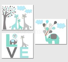 Aqua grey and teal Nursery Art Print Set Elephant by SugarInspire, $39.95