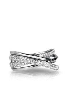 Red Box Gallery 14K White Gold and Diamond Crossover Ring   Lord and Taylor