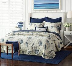 3 Piece Comforter Quilt/Bedspreads Sets, Queen ,Cotton, White&Blue