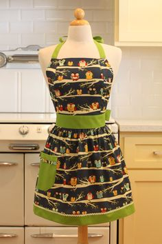 Apron Retro Style Navy Owls with Green CHLOE Full Apron Vintage Inspired. $28.75, via Etsy.