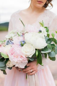 Blush, Blue, and Ivory Bouquet   Stefanie Marie Photo   http://heyweddinglady.com/blushing-bridal-beauty-shoot-rose-quartz-serenity/