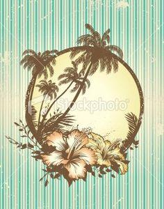 Tropical Retro background Royalty Free Stock Vector Art Illustration