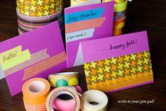 Five Sixteenths Blog: Make it Monday // Bright & Festive Washi Tape Note Cards