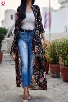 Blue Black Multicolor Georgette Floral Long Shrug - Shrugs Online in India Shrug For Dresses, Stylish Dresses, Fashion Dresses, Dress Outfits, Long Kimono Outfit, Long Shrug, Bollywood Outfits, Mode Chic, Indian Designer Wear