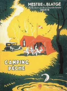 vintage french camping poster
