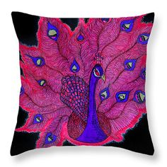 Red - Purple Peacock Throw Pillow for Sale by Alex Art Purple Peacock, Red Purple, Pillow Sale, Poplin Fabric, Decorative Throw Pillows, Fine Art America, Textiles, Stylish, Artwork