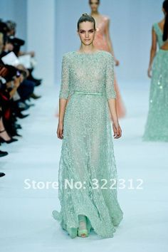 Aliexpress.com : Buy Elie Saab Couture 2013 Hot Sell A line Tulle Half Sleeves Handmade Beautiful Beads Fashion See Through Prom Gown Evening Dress from Reliable prom dress suppliers on High Fashion Dress $899.99 (946)