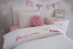 Make your girl feel special with this personalized princess duvet cover.  Give Lullaby Gigi the name and it'll be handstitched upon request, following the word Princess on the top of the duvet.
