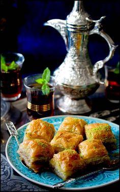 Lebanese tea and baklava squares.