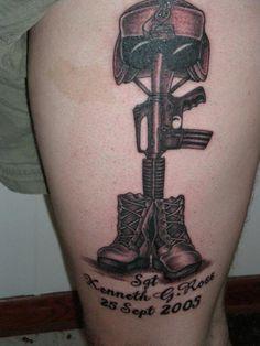 Soldier Memorial Tattoos For Men, tattoos designs, soldier tattoo designs Girl Thigh Tattoos, Leg Tattoos, Body Art Tattoos, Small Tattoos, Cool Tattoos, Awesome Tattoos, Remembrance Tattoos, Memorial Tattoos, Tattoo Designs