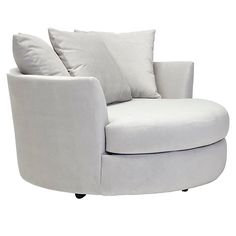 'Cuddler Chair' Much nicer in person -- giant round lounge chair. It just makes you want to get in with a book, a throw, and your significant other to sit and cuddle all day long. Living Room Chairs, Living Room Furniture, Dining Room, Furniture Chairs, Cuddler Chair, Sleeper Chair, Comfy Armchair, Round Chair, Ikea Chair