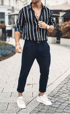 Men's summer outfit for Try this style. Dark blue or black rolled up pan. - Men's summer outfit for Try this style. Dark blue or black rolled up pan… Source by streetstyleuk -