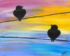 Lintuja - vesiväreillä