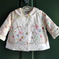 Little Girl Size 3 Jacket with Vintage Embroidery