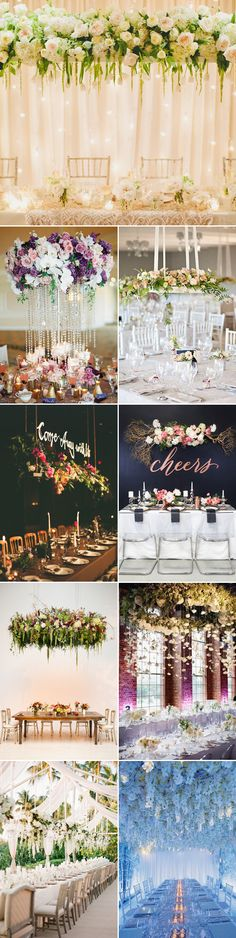 One of the modern wedding decor trends is getting your centerpieces off the table. Hanging centerpieces are innovative, romantic, and tend to save table space. Here we've gathered some of our favorite suspended designs to help inspire your planning to new heights!  Suspended Flowers Credits (from the top, left to right): One Love Photo …