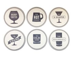Cocktail Recipe Coasters $15 for a set of six
