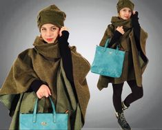 Wool green woman poncho with hat .Warm, comparable and easy to wear . Handmade unique poncho.Style poncho with hat.#wool#woman#poncho#handmade#hat#design#sewn#style#girl#gift#wear#warm#comparable#beautiful#winter#classic#vintage#winter Wool Poncho, Vintage Winter, Girl Gifts, Classic Style, Etsy Seller, Hat, Woman, Trending Outfits, Green