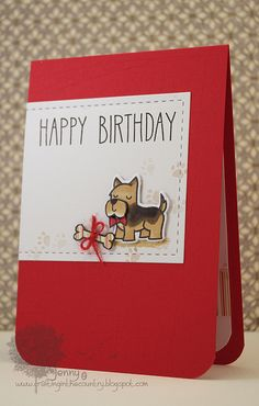 Lawn Fawn - Critters at the Dog Park, So Much to Say _ Such an sweet birthday card by Jenny! _ Give a Dog a Bone? | Flickr - Photo Sharing!