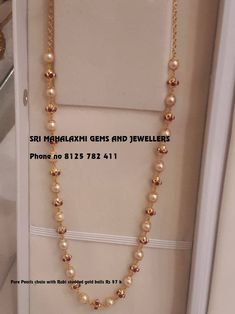 Check Out The Complete Pearl Chain Designs Here! Pearl Necklace Designs, Gold Earrings Designs, Gold Jewellery Design, Pearl Jewelry, Beaded Jewelry, Jewelry Necklaces, Graff Jewelry, India Jewelry, Gold Bracelets