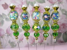 Shabby Chic Stick Pin Lot Of 5 Green Blue Beads Lampwork Gold Tone Caps Hat Pin #Handmade