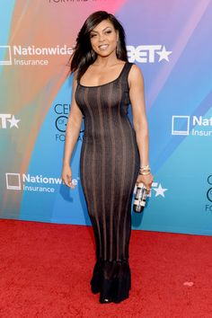 Taraji P. Henson looked stunning in a formfitting Azzedine Alaia tank dress and Gianvito Rossi shoes at the 2014 BET Celebration of Gospel in Los Angeles.