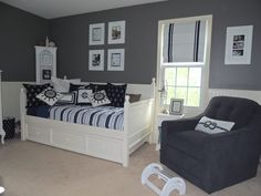 Gray and Navy Nautical Nursery Room View