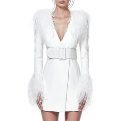 Newest Summer Celebrity Party Women Dress White Long Sleeve Feathers V-Neck Sexy Elegant Night Out Dress Women Bodycon Vestidos White Midi Dress, Belted Dress, Jacket Dress, Coat Dress, Sheath Dress, Club Dresses, Sexy Dresses, Evening Dresses, Vestidos Sexy