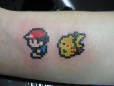 Pokemon: 8-bit Ash and Pikachu Tattoo, don't care how nerdy this is I love it!