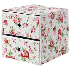 IKEA FLARRA Mini chest with 2 drawers Floral patterned 33x38 cm Suitable for storing small items like jewellery, scarves or other accessories.