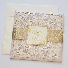 Laser Cut Wedding Invitation | Elegant Wedding Invite | Lace Wedding Invitation | Blush Pink & Gold Glitter | Flourish | GOLDIE Sample