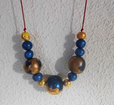 blue moon clay necklace by medclayjewelry on Etsy