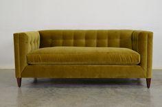 Our Arden Sofa in Como Mustard Velvet.