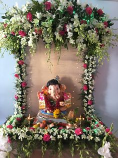 Ganpati at home Flower Decoration For Ganpati, Eco Friendly Ganpati Decoration, Ganpati Decoration Design, Mandir Decoration, Ganapati Decoration, Diwali Decorations, Festival Decorations, Birthday Decorations, Flower Decorations