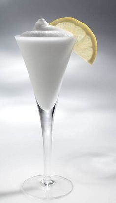 A drink from Venice, Italy...Frothy Lemon Sorbetto with lemon sorbet, vodka, and Italian Prosecco or sparkling wine..