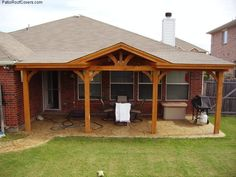 gable roof patio cover with wood stained ceiling | gable roof ... - Patio Roof Ideas