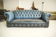 Striking Electric Blue Sofa to be Refinished