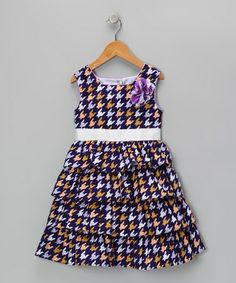 Take a look at this Purple & White Portia Dress - Toddler & Girls by Joe-Ella on #zulily today!