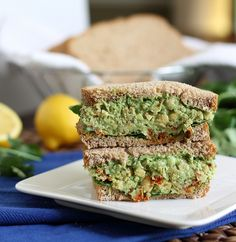 Chickpea pesto sandwich. This looks amazing. And healthy!