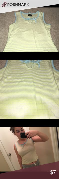 Yellow/ light blue striped tank Vintage yellow striped tank, with light blue accents Tops Tank Tops
