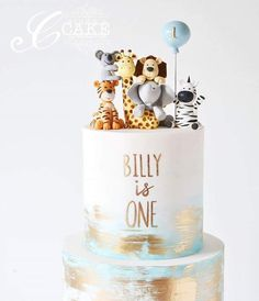 {Close up!} 'Billy is One' zoo animals cake. {Close up!} 'Billy is One' zoo animals cake. Boys First Birthday Cake, Baby Boy Cakes, Themed Birthday Cakes, Cakes For Boys, Themed Cakes, Birthday Ideas, Zoo Animal Cakes, Animal Birthday Cakes, Animal Cakes For Kids
