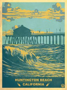 Vintage Huntington Beach Poster Framed Art Print by Jon Hernandez - Vector Black - Surf Retro, Vintage Surfing, Huntington Beach California, Beach Posters, Surf Posters, Retro Poster, Retro Print, Kunst Poster, Vintage California