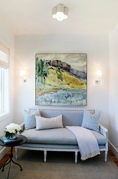 Utah Valley Parade of Homes - entrances/foyers - art over sofa, muse sconce, robert abbey sconce, french settee