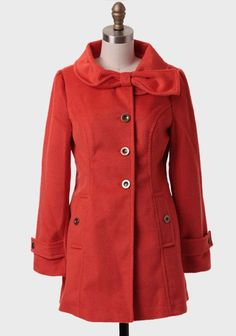 Want for sure!  red coat   bow collar   fall fashion   fall style