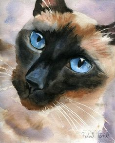 Siamese cat Art Print of a watercolor painting Big Large Huge Girls Teens Cat  Lover Unique Gift Chocolate Seal Point pet portrait custom